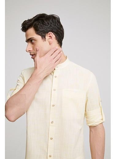 TWN Slim Fit Çizgili Gömlek Sarı